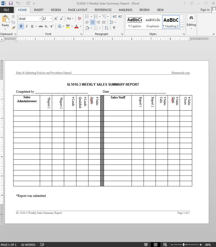 Weekly Sales Summary Report Template In 2020 Sales Report