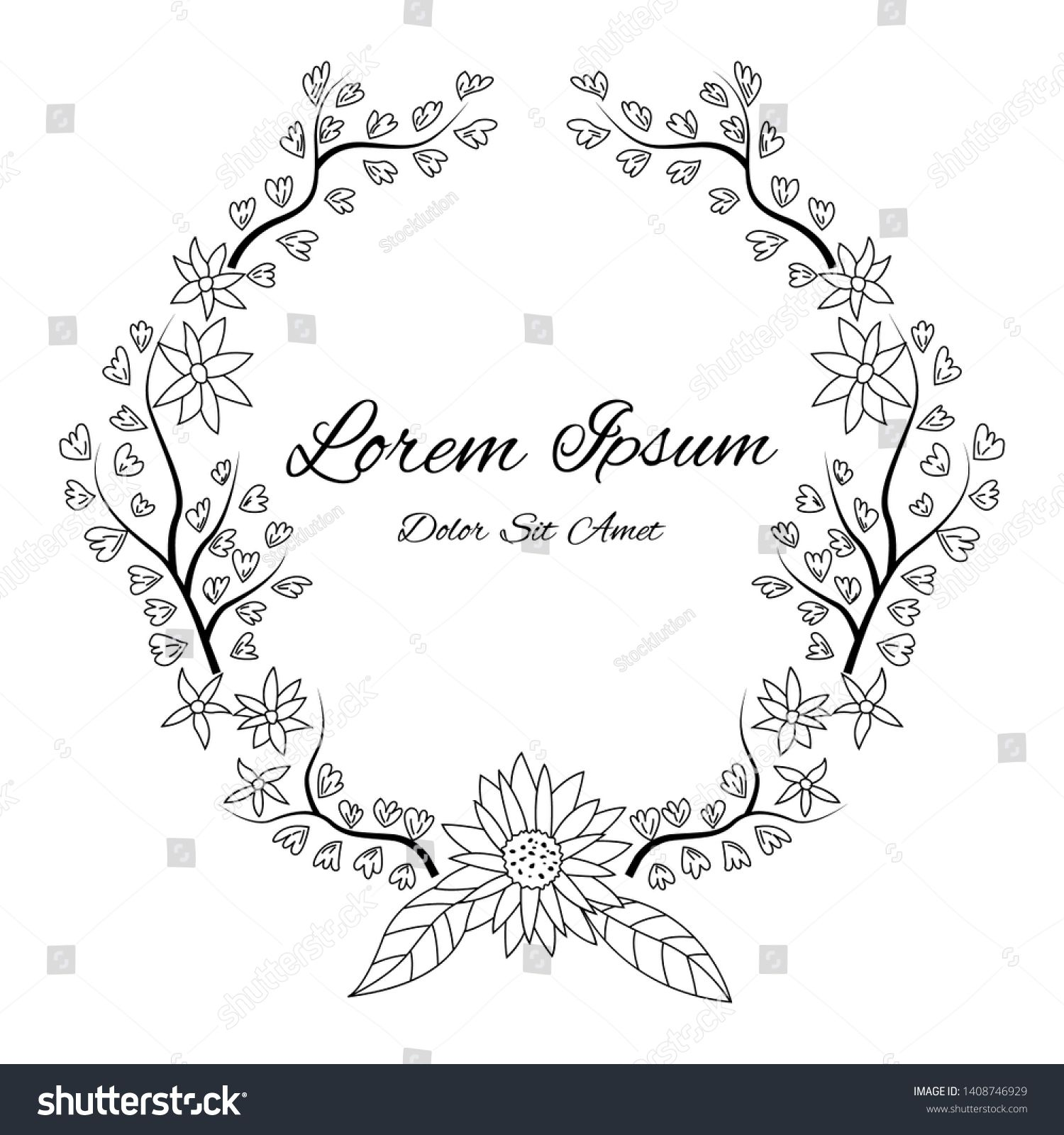 Vector Floral Frame Ornament Illustration Doodle Sketch Hand Drawn Design Style Ornament Frame Hand Drawn Design Floral