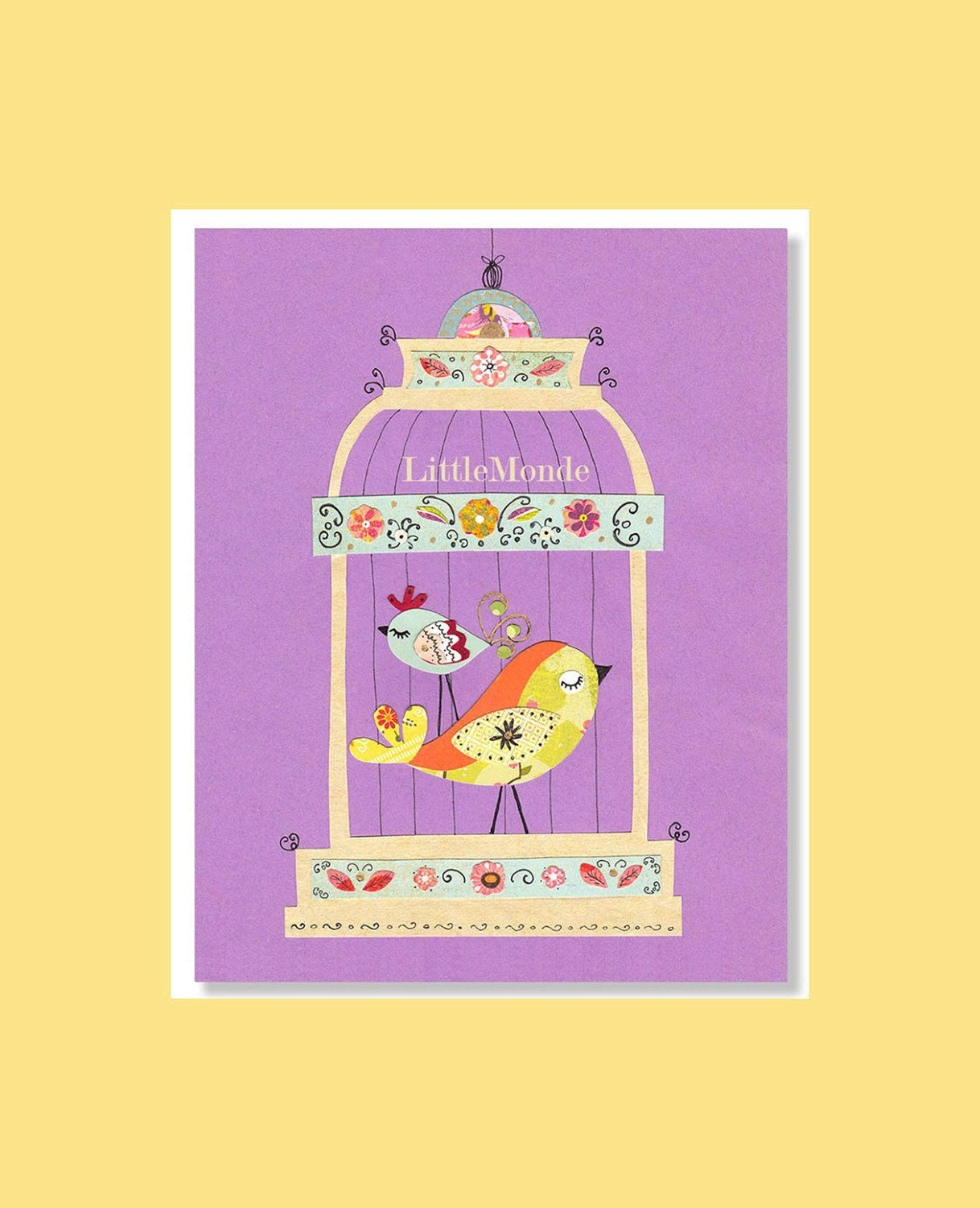 Baby Girl Nursery Prints, Purple Nursery, Birds in Cage, Birds ...