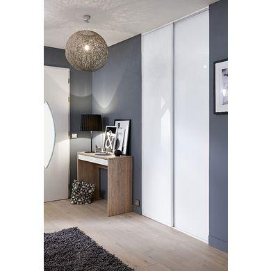 Porte de placard coulissante GLISSEO décor verre laqué blanc