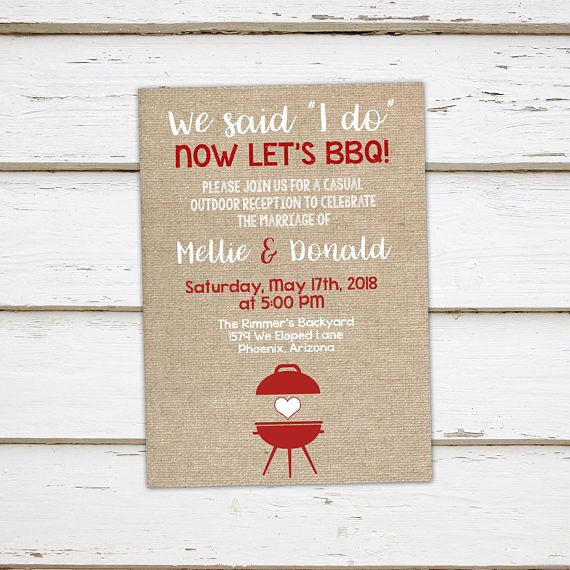 Printable I Do BBQ Invitation, Elopement Reception, Burlap, Outdoor, Barbecue, We Said I do, I do Me Too, Burlap, Rustic, White, MB195 is part of Elopement reception - 2tl4Az3  © Mellie Bellie's Boutique