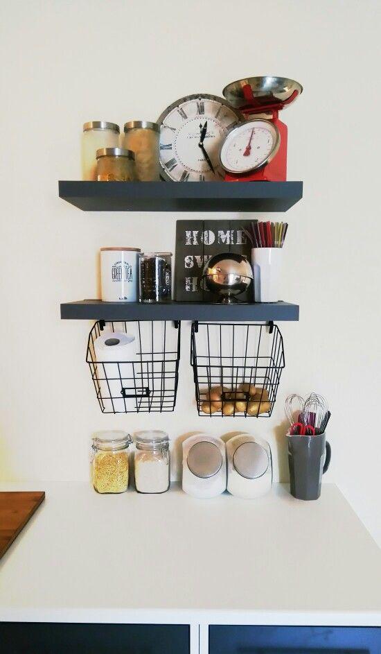 Meuble de cuisine IKEA Étagère ALINEA Panière et tableau CASA Pot