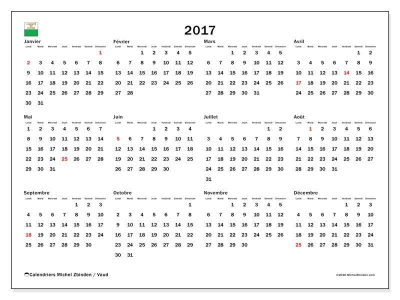 Calendrier 2017 Vaud Calendrier Calendrier 2017 Et