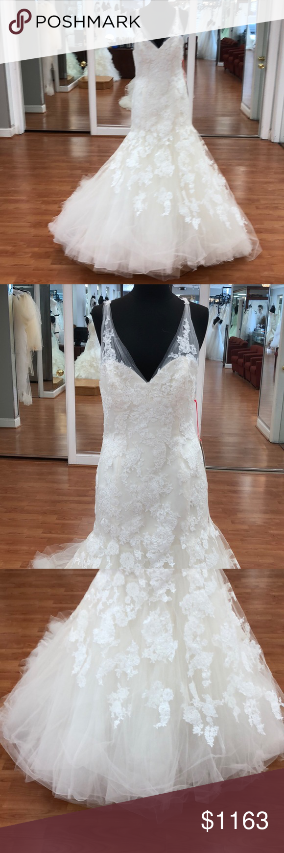 Ivory wedding gown with lace Ivory