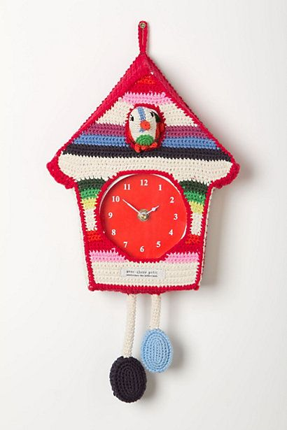 Hand-Crocheted Cuckoo Clock #anthropologie.. this would be fairly easy to re create...