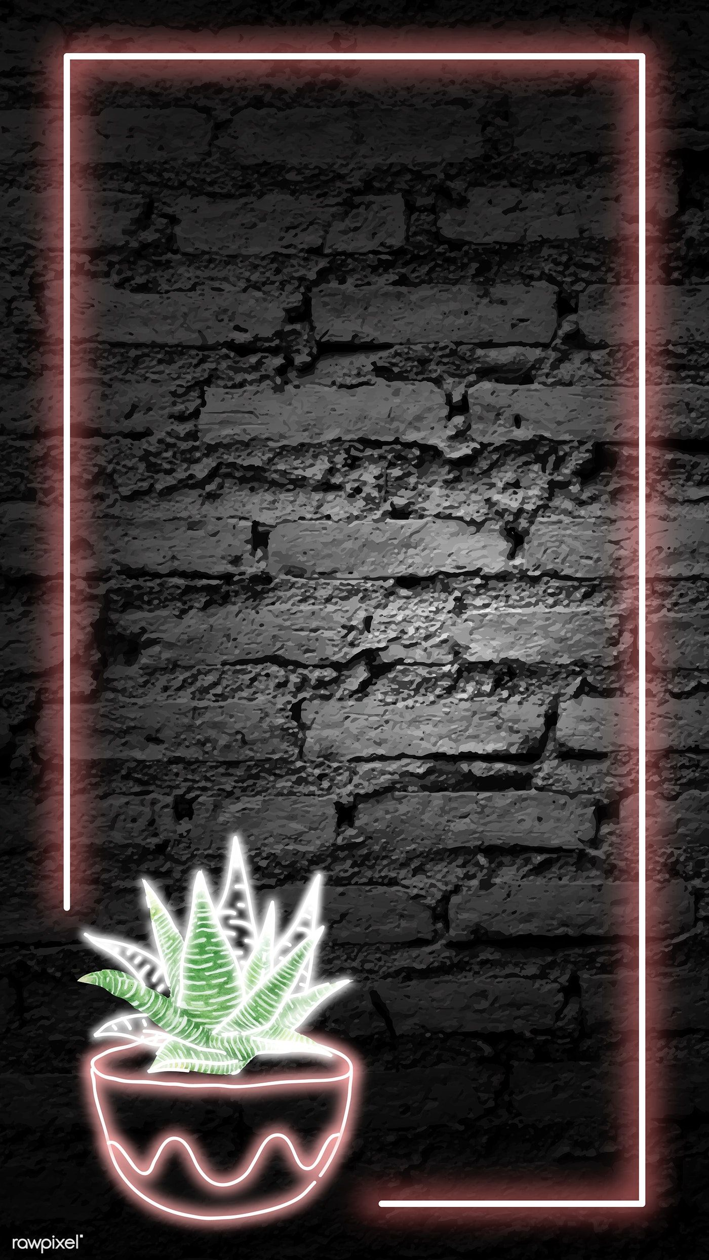 Download premium vector of Neon rectangle cactus frame on