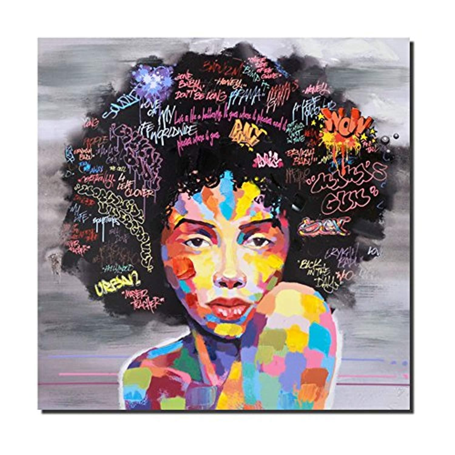 Pinetree art african american black wall decor canvas original designed pop graffiti style painting on poster print without frame  also rh pinterest