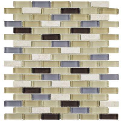 "EliteTile Sierra 0.5"" x 1.875"" Glass Mosaic Tile in River"