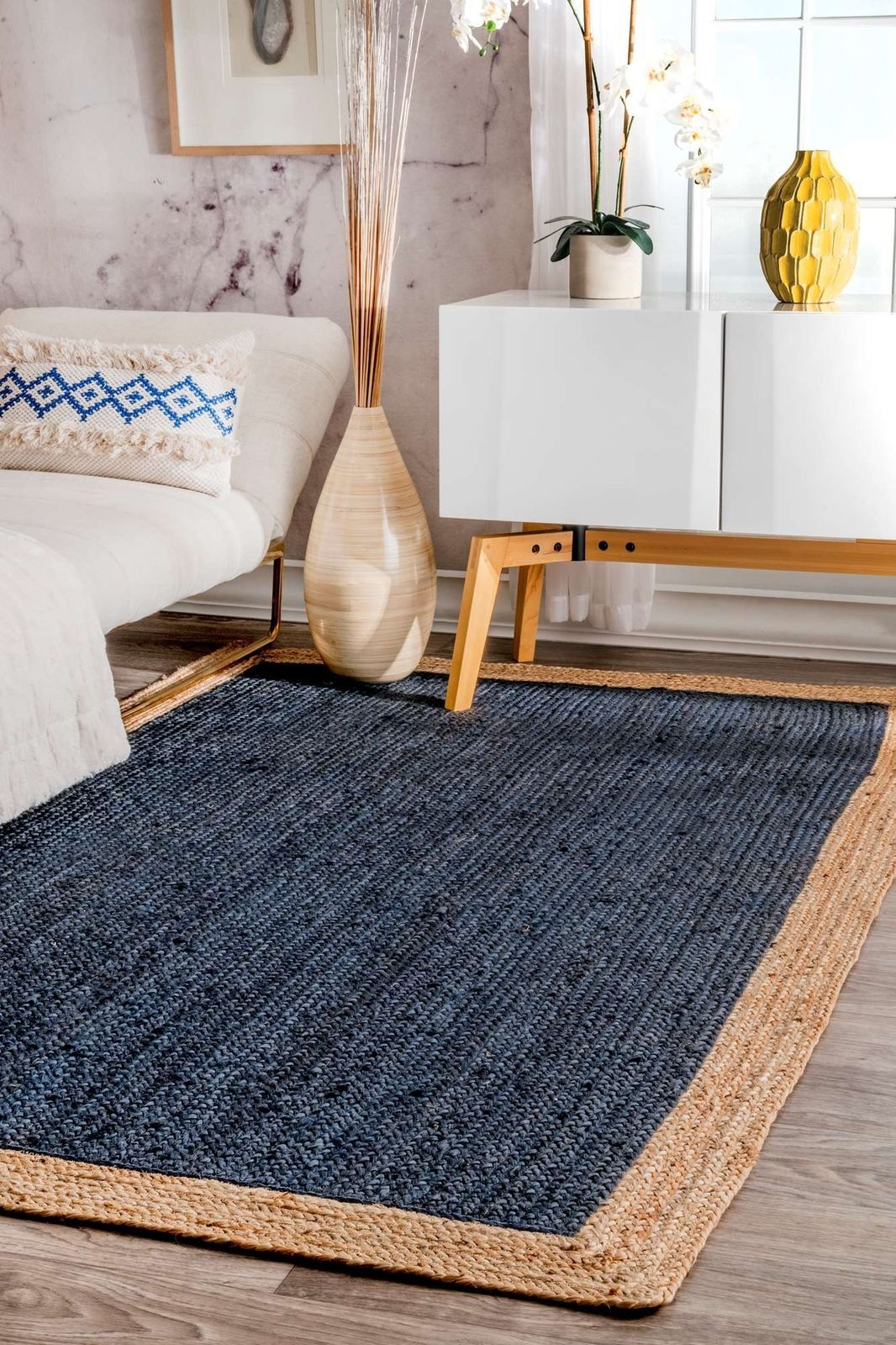 Nuloom Contemporary Modern Simple Bordered Natural Jute Area Rug In Navy Blue Ebay