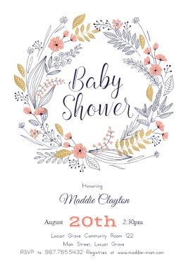 Friendship Wreath Baby Shower Invitation Template Free
