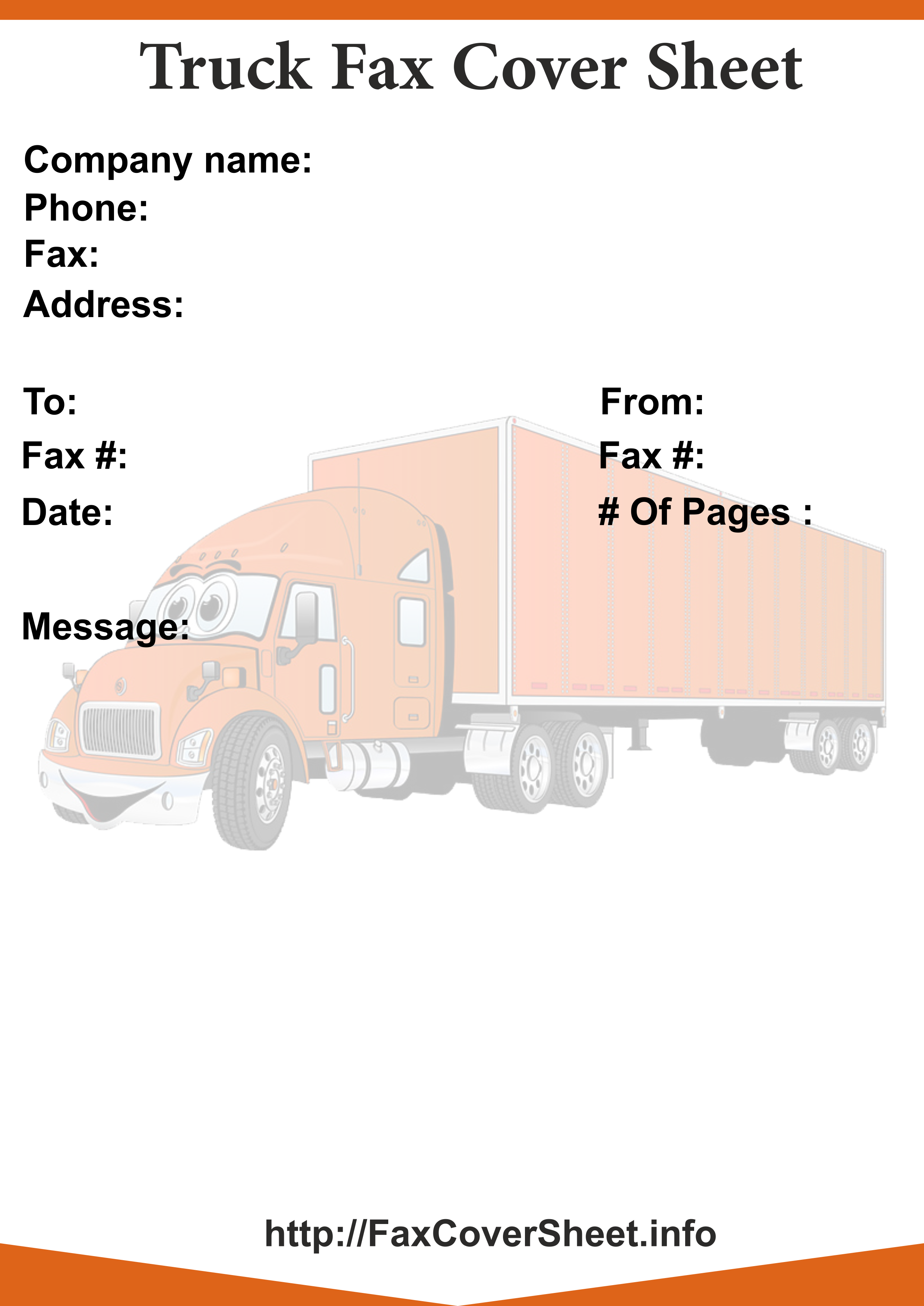 truck fax cover sheet printable truck fax cover sheet templates
