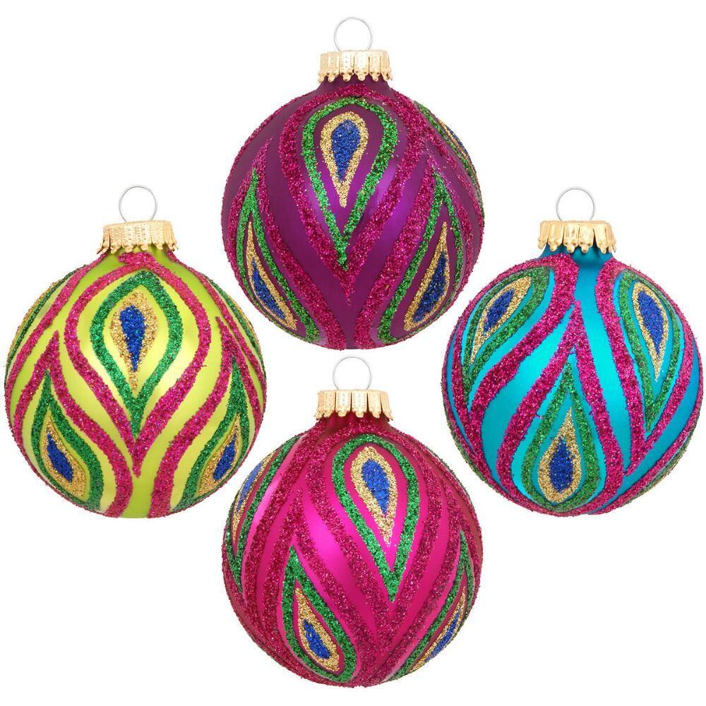 Box Of 20 Multi Color Splash Glass Ornaments   Christmas ornaments ...