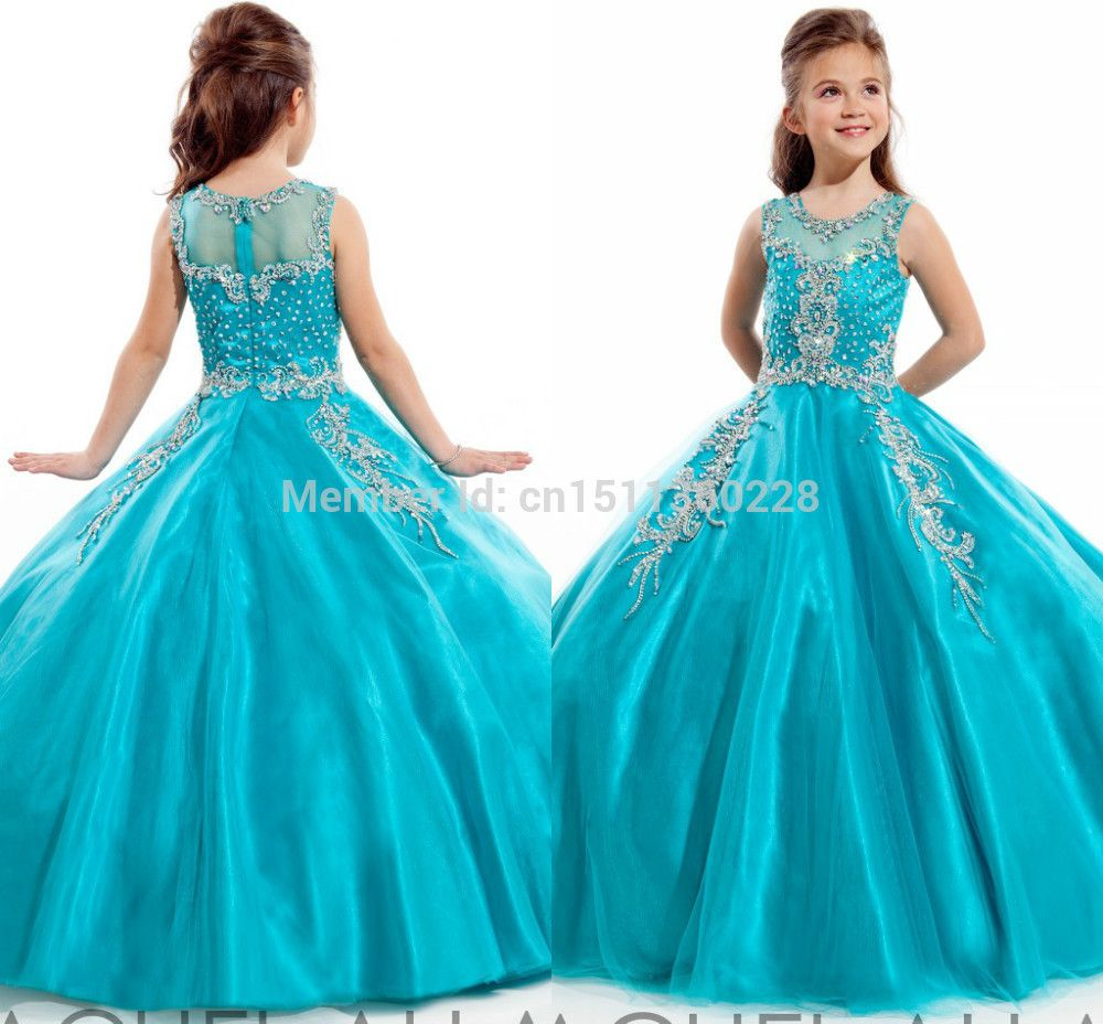 Blue-Girls-Pageant-Dresses-2014-Crystal-Beads-High-Neck-Princess ...