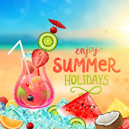 Enjoy tropical summer holidays backgrounds vector 02 free