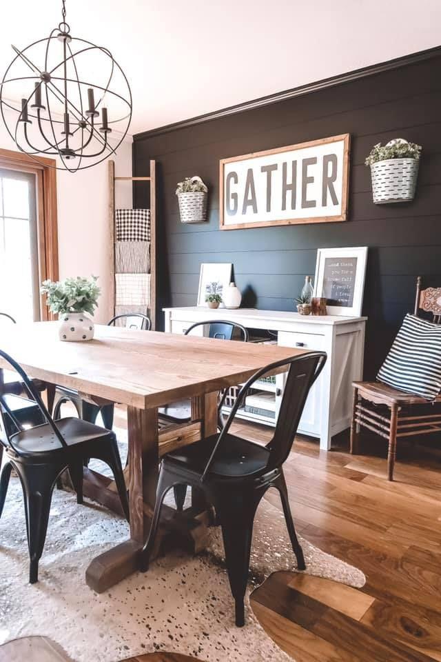 Black Shiplap Wall Farmhouse Dining Rooms Decor Dining Room Makeover Dining Room Accents