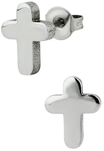 Hypoallergenic Surgical Steel Cross Stud Earrings WHITE