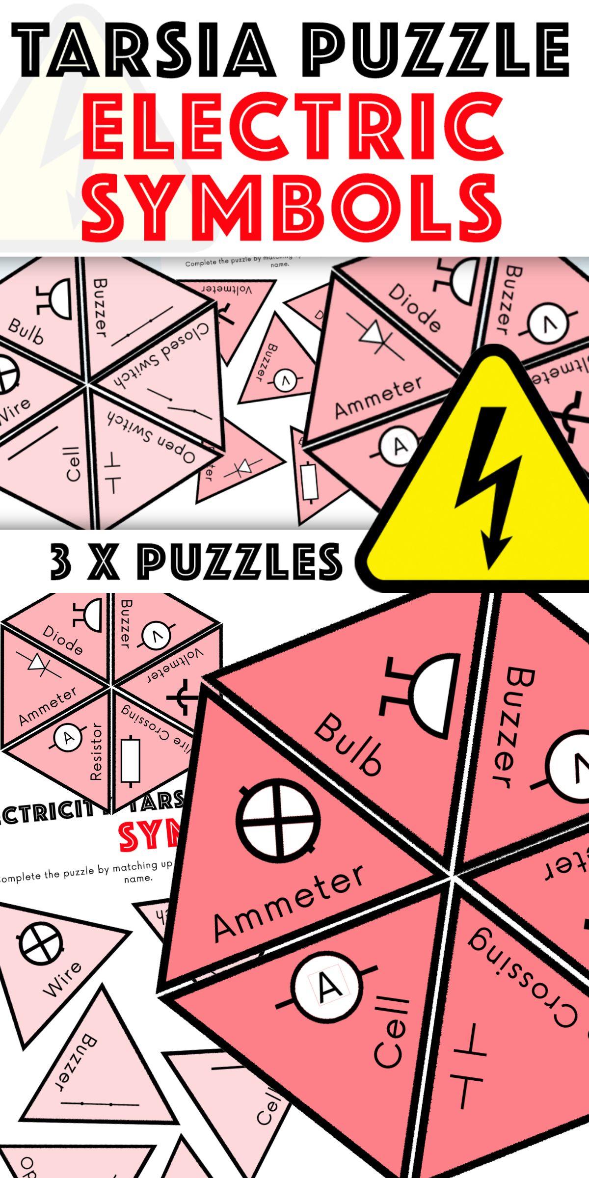 Electricity Tarsia Puzzle Electric Symbols