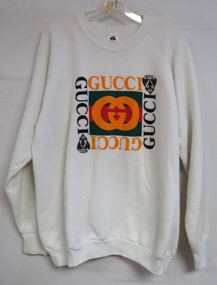 950af614fa9 VINTAGE SWEATSHIRT GUCCI LOGO WHITE FRUIT OF THE LOOM USA MENS RAGLAN LARGE