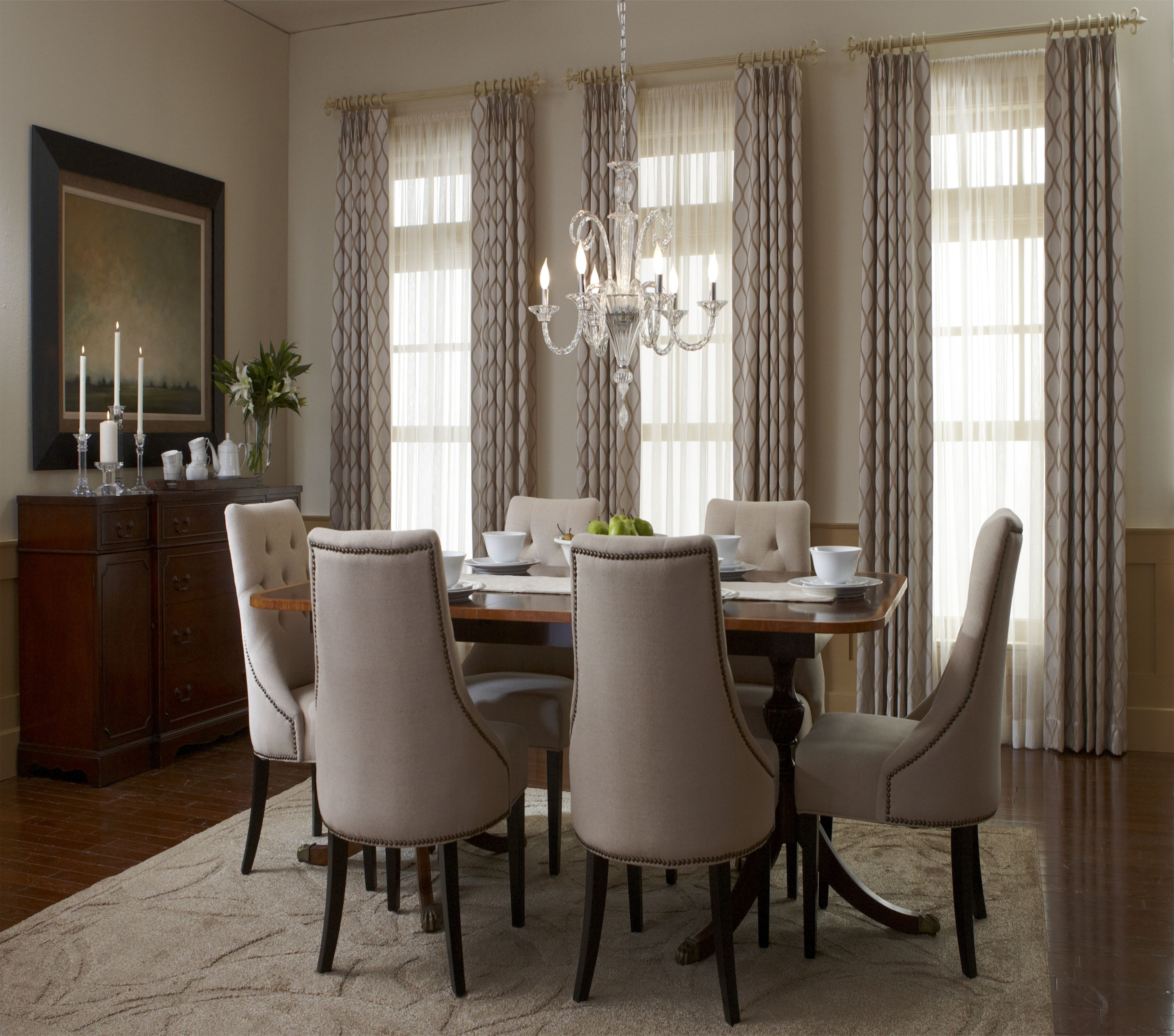 Adding Texture Or Prints Can Easily Provide More Interest To A Monochromatic Color Dining Room Windows Dining Room Window Treatments Traditional Dining Rooms