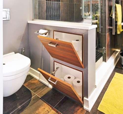 Chaque centim tre compte le muret s parateur entre la toilette et la douche dissimule un for Amenagement toilette