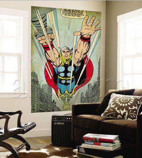 Retro Marvel Comics Wall Murals Geek Decor Home Decor Retro