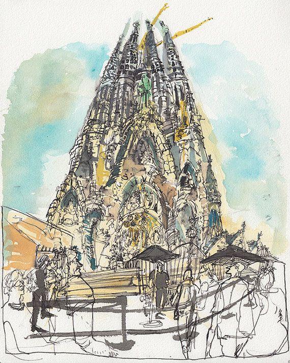 Sagrada Familia - Watercolor/Ink on Watercolor paper