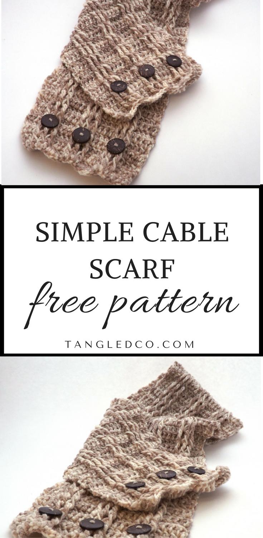 Simple Cable Scarf - Free Crochet Pattern | Santiago, Gorros y Abrigos