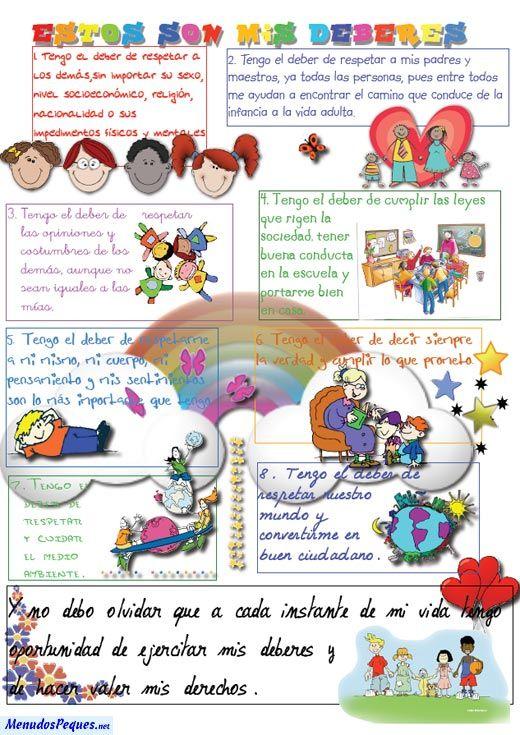 Deberes del niño | Derechos y Obligaciones de los niños | Pinterest