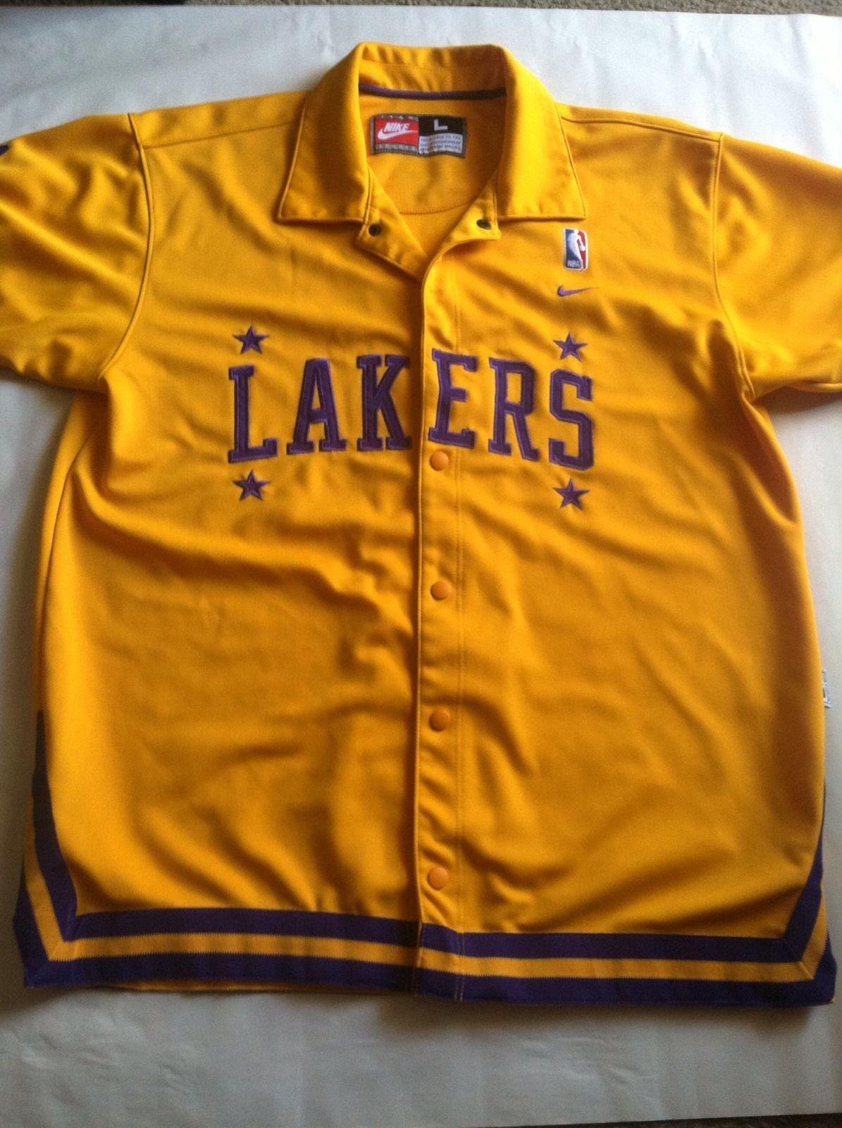 Vtg Los Angeles Lakers Nike Rewind 57 Nba Sewn Warmup Shooting Jersey Shirt L Jersey Shirt Los Angeles Lakers Lakers