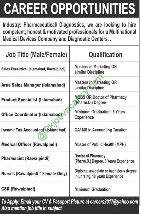 Jobs In Pharmaceutical Diagnostics For Sales Executive, Area Sales - sales coordinator job description