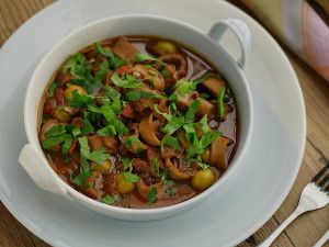 Slow Cooked Spicy Squid with Fregola Pasta