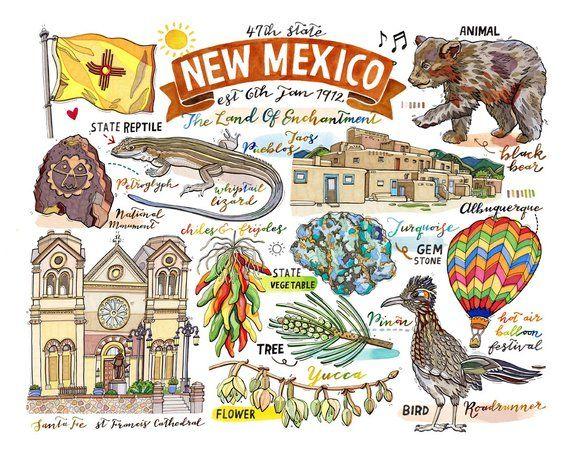 New Mexico State Print Illustration State Symbols Home Decor
