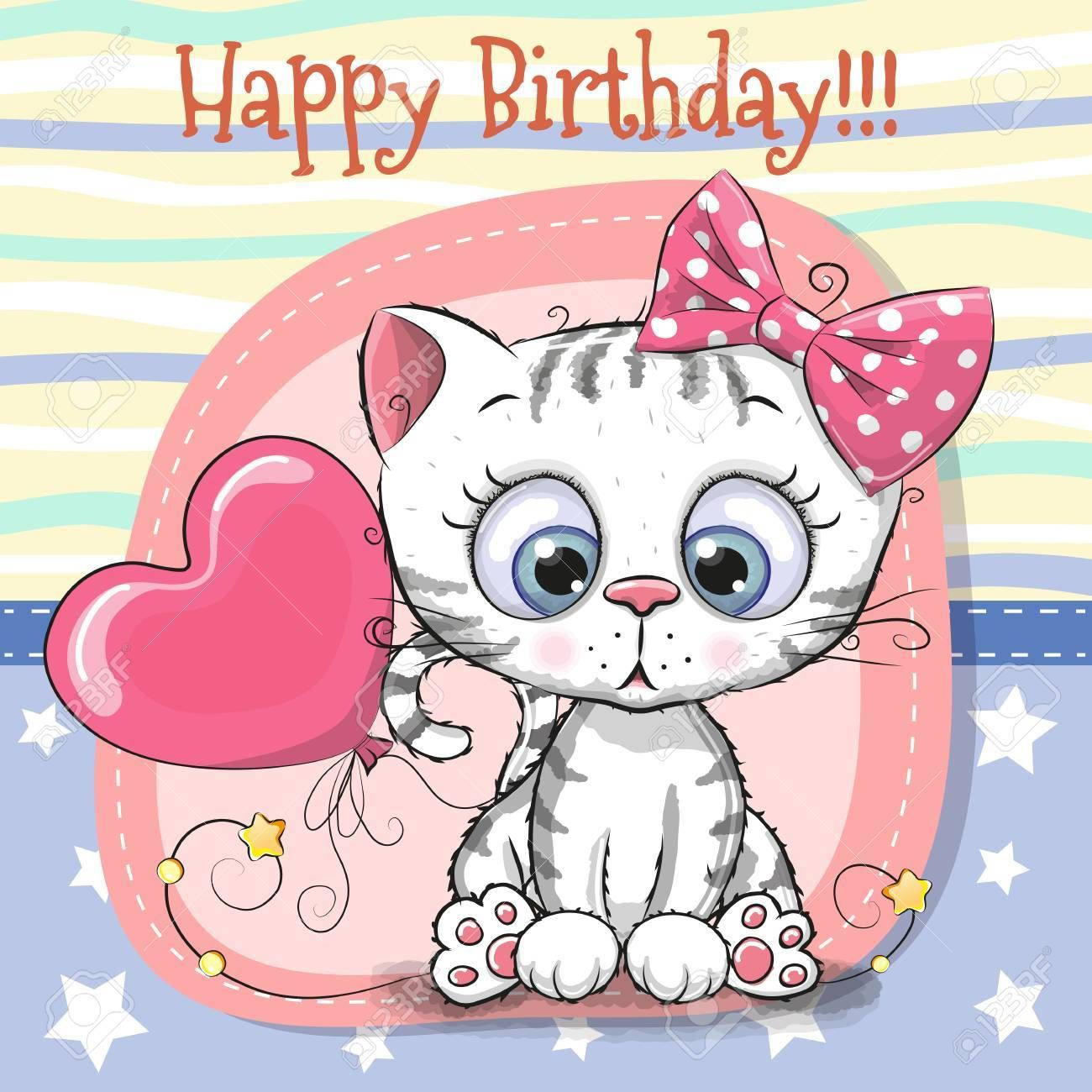 Cute Cartoon Kitten Birthday Greeting Card Illustration Sponsored Kitten Cartoon Cute Birthday Illustration Kitten Cartoon Cute Cartoon Cartoon