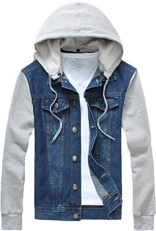 4a326e17b9c Jean Jacket Hoodie in 2019 | Style is Key! | Denim jacket with ...