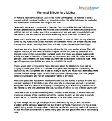 Memorial Tributes to Mothers mommie Pinterest - speech example