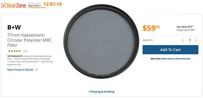 Today only: Save $75 on the 77mm Kaesemann Circular Polarizer MRC Filter. Gold Box on Gosky filter and Canon FD adapter. #photography