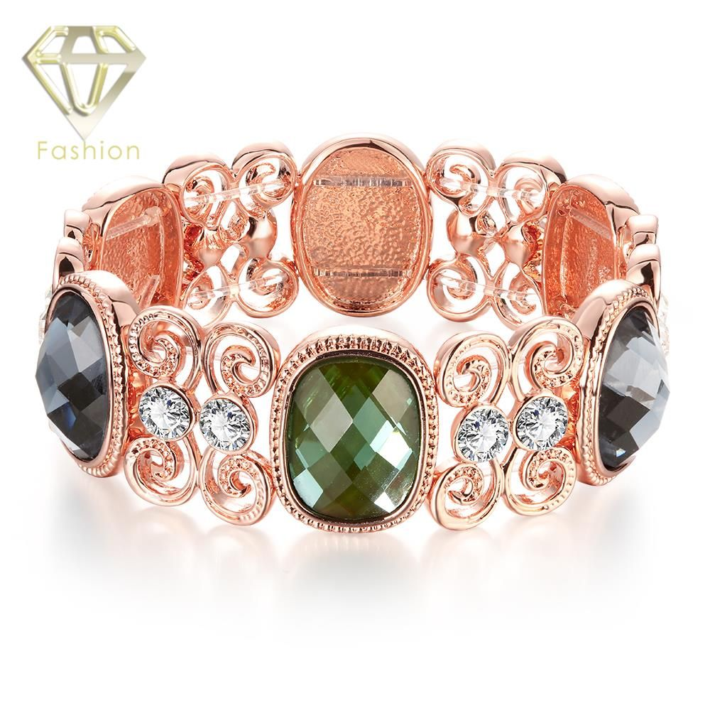 Fashion rose gold plated opal stone cuff bracelet with aaa cubic