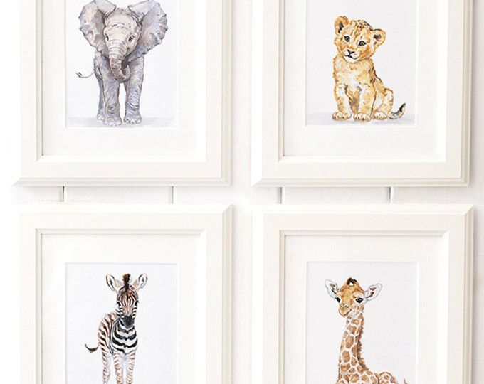 Safari Nursery Print set of 6, Safari animals , African Baby Animal ...