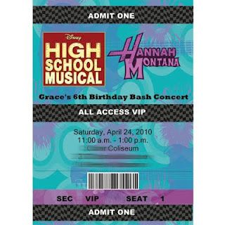 Hannah Montana/High School Musical/Rock Star birthday party - Back stage passes