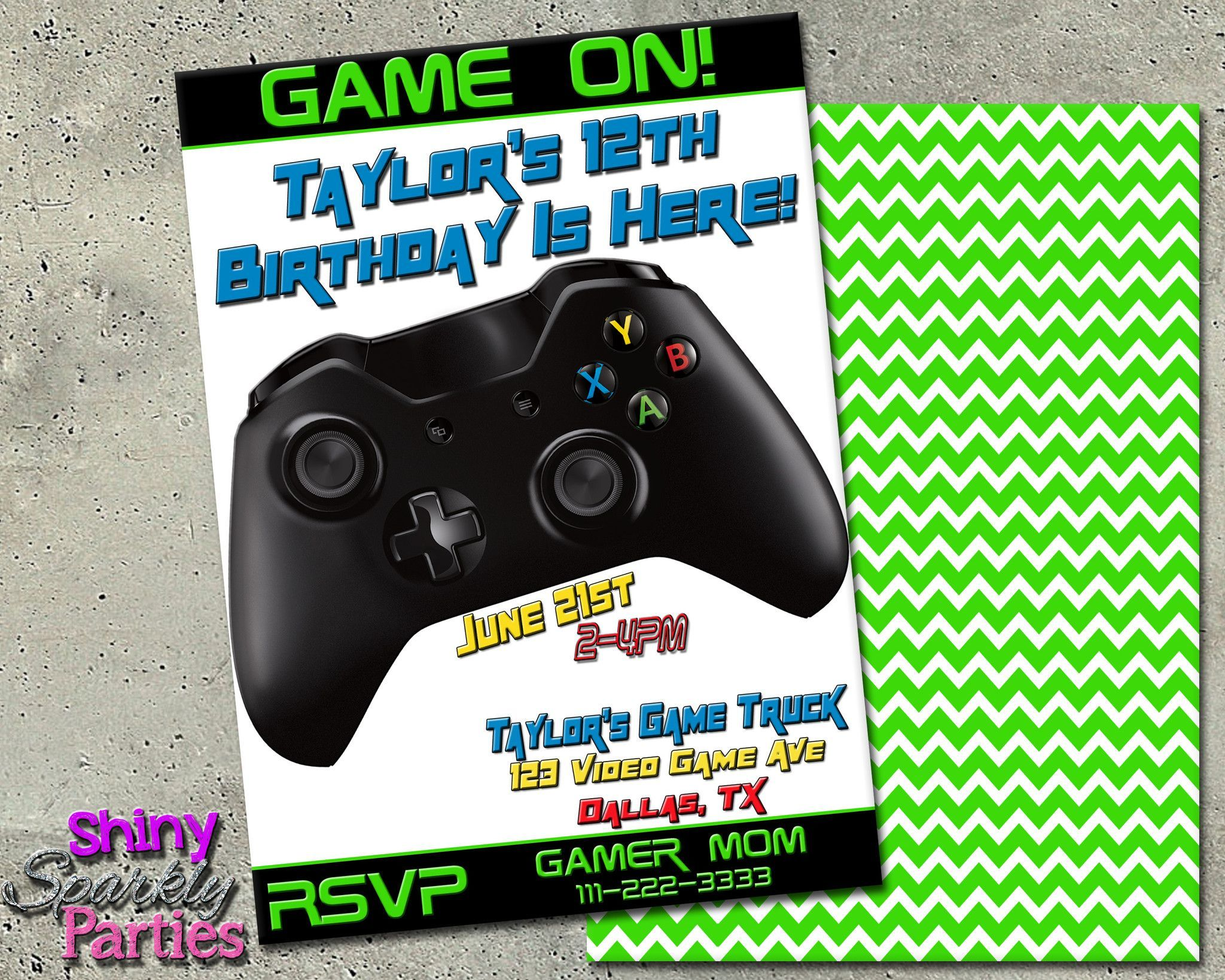 Printable Video Game Themed Birthday Invitation Or Game Truck - Birthday invitation video