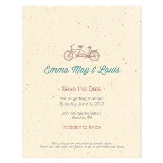 tandem bicycle plantable save the date cards send out an eco