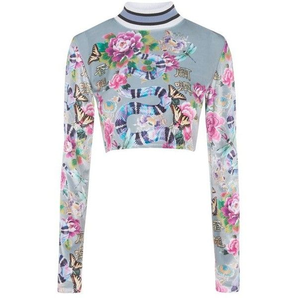 Iridescent Snake Velvet Top by Jaded London (€52) ❤ liked on Polyvore featuring tops, long sleeve velvet top, party crop tops, floral crop top, long sleeve tops and white tops