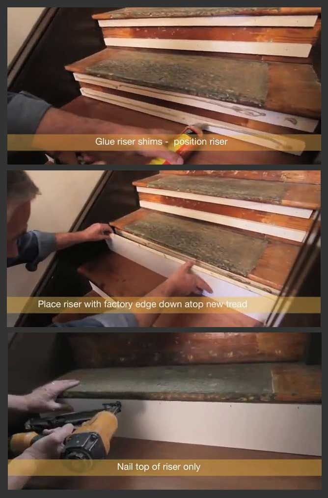 How To Position Risers Refinish Or Retread Stairs Diy Staircase Remodel Carpeted Bat