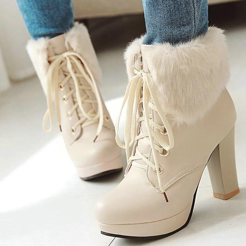 Best Kawaii – Fluffy Lace-up High Heel Boots