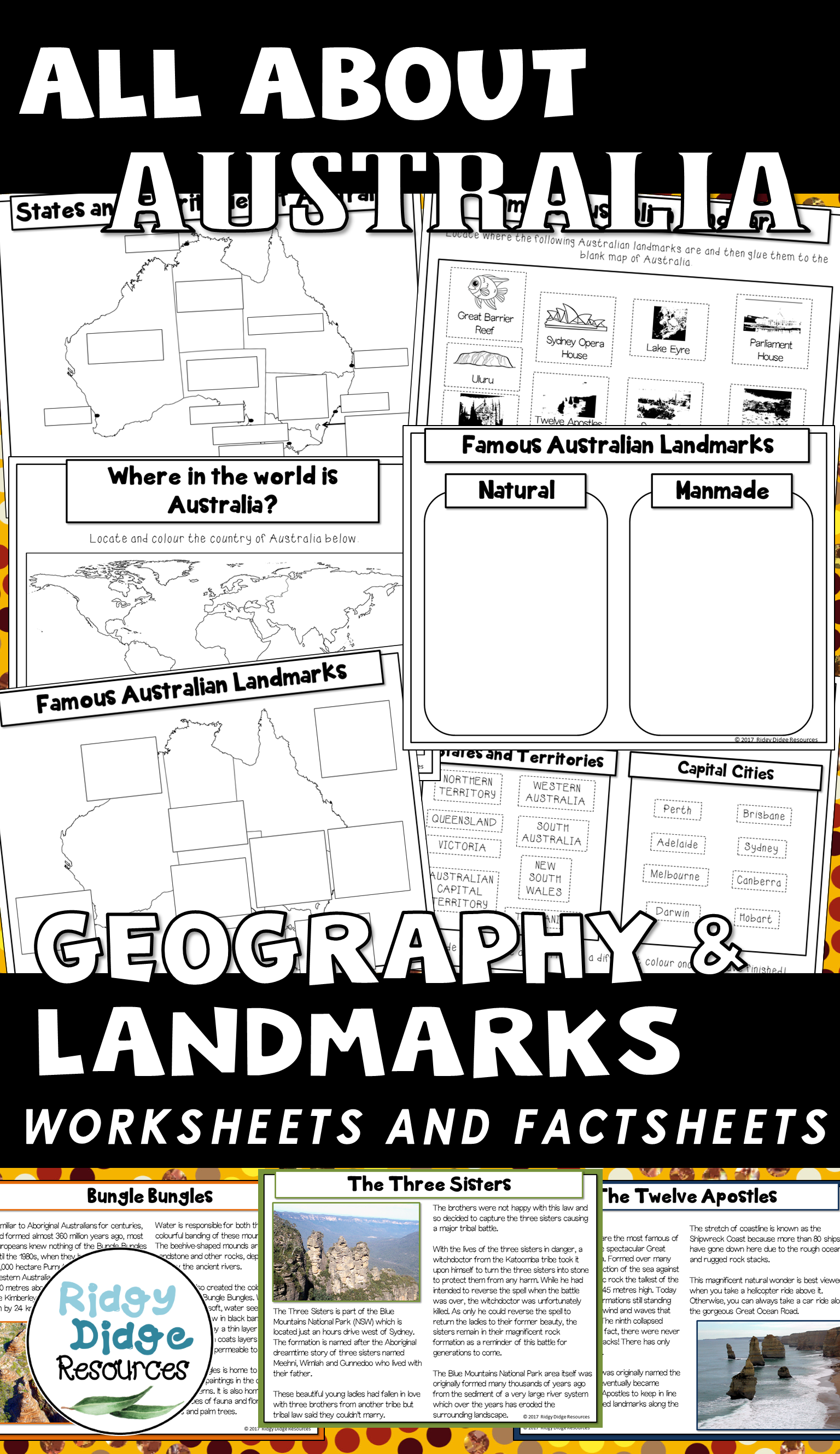 Australian Geography And Landmarks Worksheets