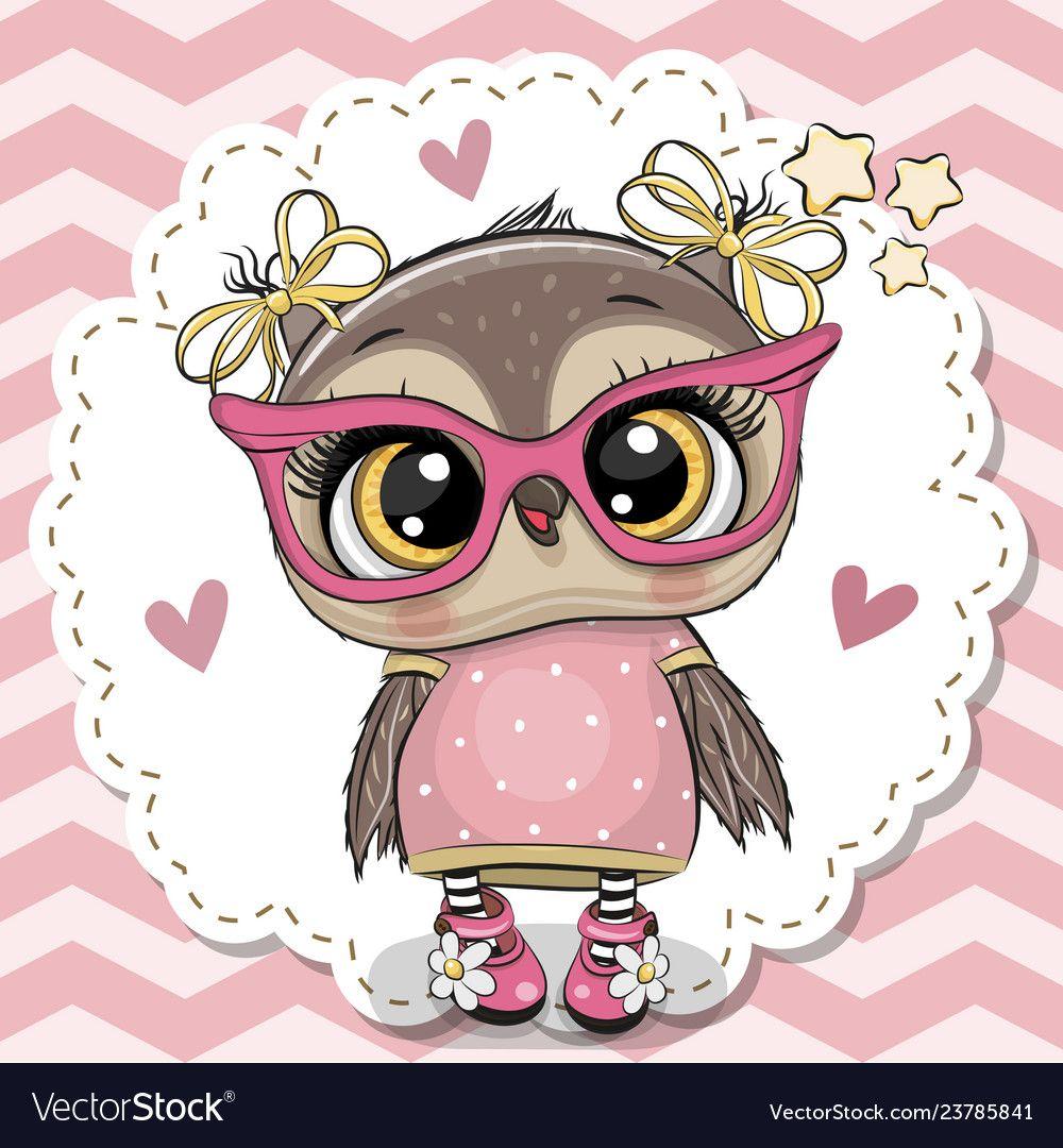 Cute Owl In Pink Eyeglasses Royalty Free Vector Image Owl Cartoon Wallpaper Pink Cute Owl Wallpaper