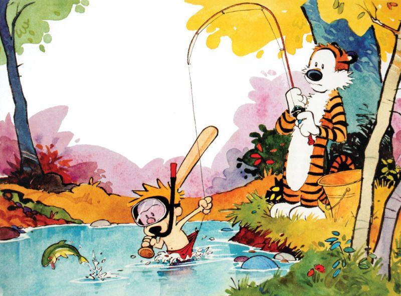 Calvin And Hobbes Gone Fishing Happy Monday Everyone Da