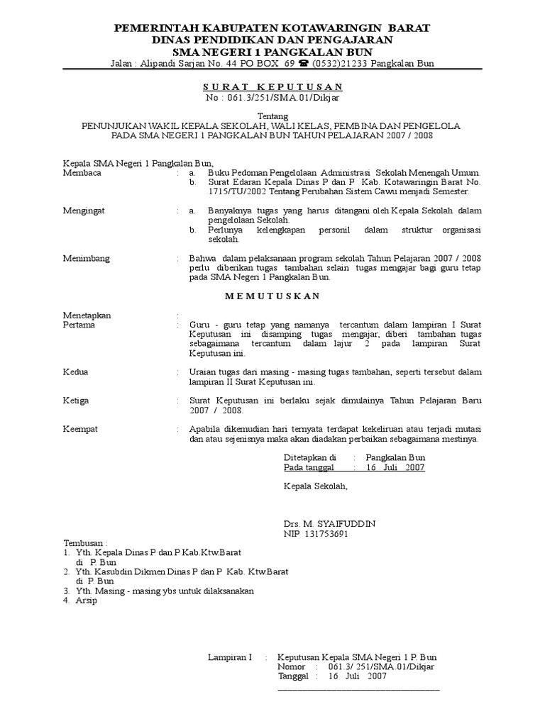 Contoh Surat Keputusan Dari Dinas - Download Kumpulan Gambar