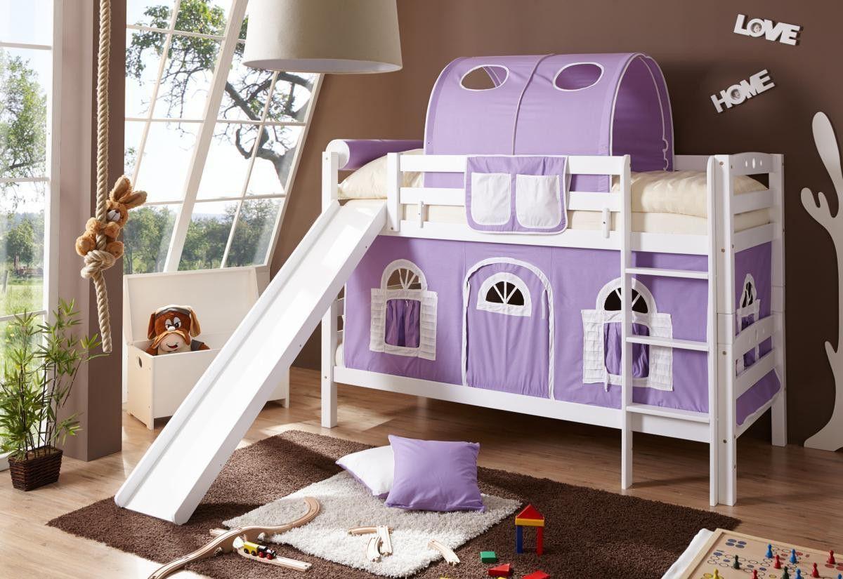 Thuka Etagenbett Mit Rutsche : Ticaa etagenbett mit rutsche lupo buche massiv weiß lila