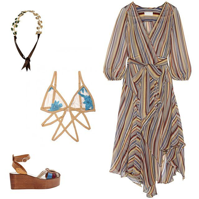 Icing white daisies flower crown, $15, icing.com; Zimmermann ticking striped silk-crepe wrap minidress, $895, net-a-porter.com; Isabel Marant Étoile Zelie rope and leather wedges, $485, matchesfashion.com; For Love and Lemons Orchid bondage bra, $68, nastygal.com